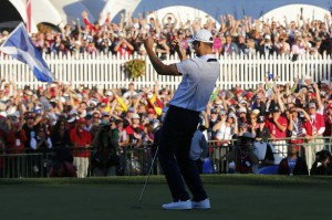 Martin Kaymer of Europe celebrates after holing the decisive putt