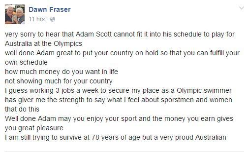 Dawn Fraser n'a pas mâché ses mots sur son compte Facebook