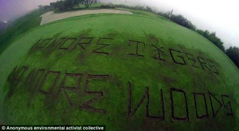 parcours de golf donald trump vandalisé tiger woods